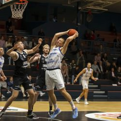 WEERT, NETHERLANDS - SEPTEMBER 29: Neil Masnic of BAL, Ralf De Pagter of Hammers  during the BNXT League basketball match between BAL and Landstede Hammers at sports hall Boshoven on September 29, 2021 in Weert, Netherlands (Photo by Frank Kerbusch/Orange Pictures)